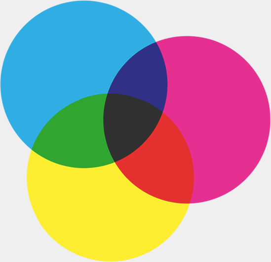 Cyan, Magenta, and Yellow circles overlapping to show how they mix